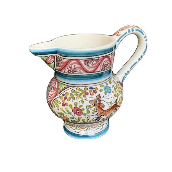 """Ceramicas De Coimbra Small Pitcher Animals 5"""" Tall"""